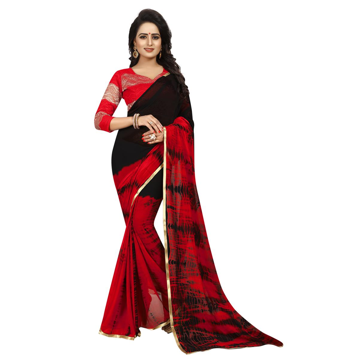 Favorite Red-Black Colored Casual Printed Chiffon Saree