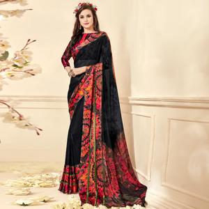 Beautiful Black Colored Casual Wear Printed Chiffon Saree