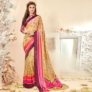 Gorgeous Beige Colored Casual Wear Printed Chiffon Saree