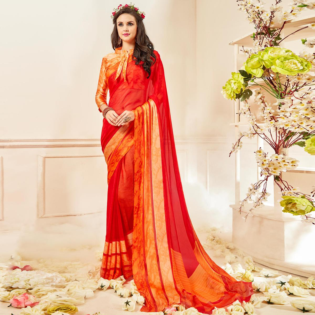 Classy Red Colored Casual Wear Printed Chiffon Saree