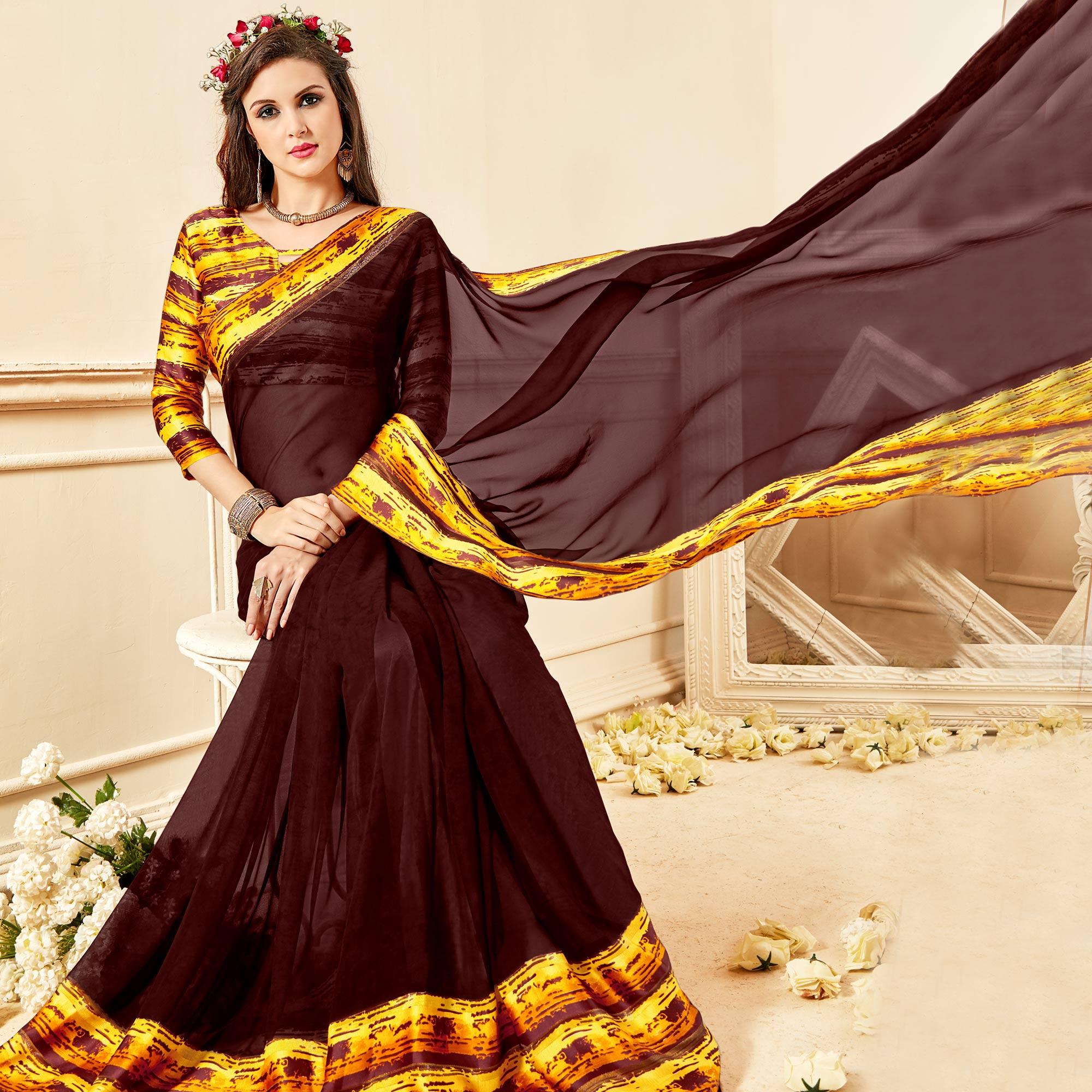 Glorious Brown Colored Casual Wear Printed Chiffon Saree