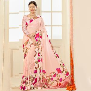 Graceful Pastel Pink Colored Casual Wear Printed Chiffon Saree