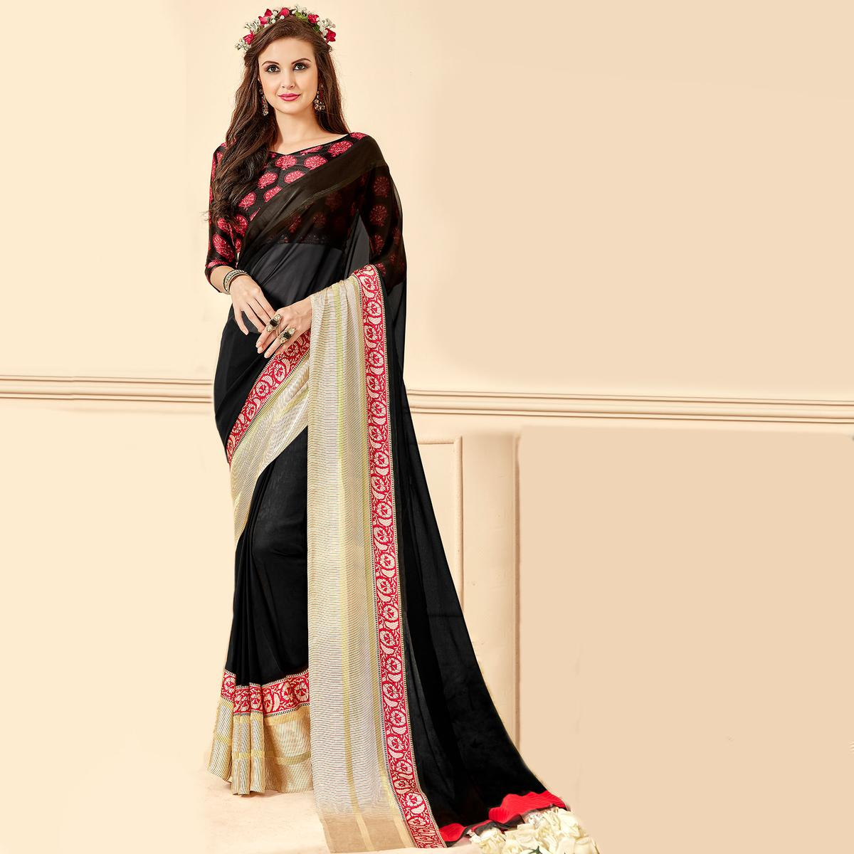Lovely Black Colored Casual Wear Printed Chiffon Saree