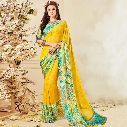 Pretty Yellow Colored Casual Wear Printed Chiffon Saree