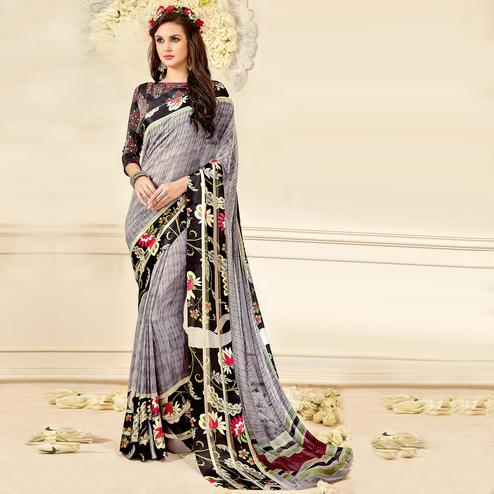 Charming Grey Colored Casual Wear Printed Chiffon Saree