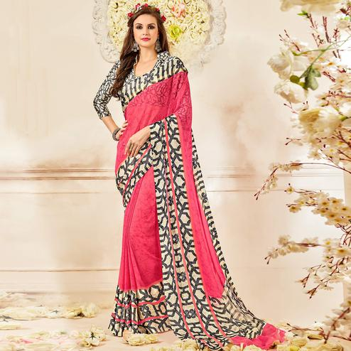 Ravishing Pink Colored Casual Wear Printed Chiffon Saree