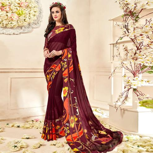 Delightful Brown Colored Casual Wear Printed Chiffon Saree