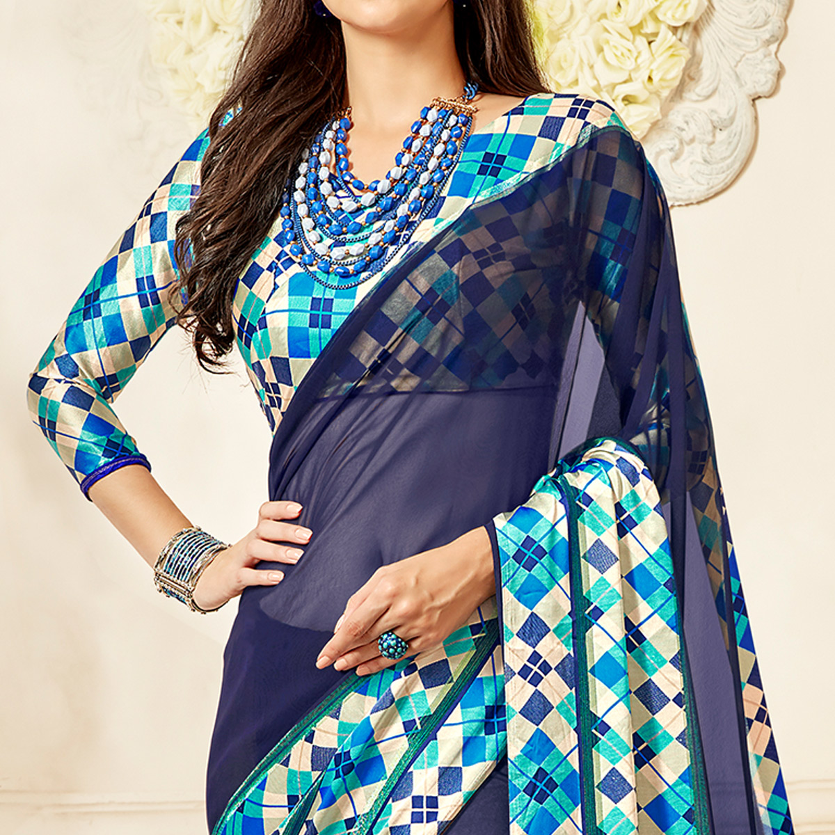 Stunning Navy Blue Colored Casual Wear Printed Chiffon Saree
