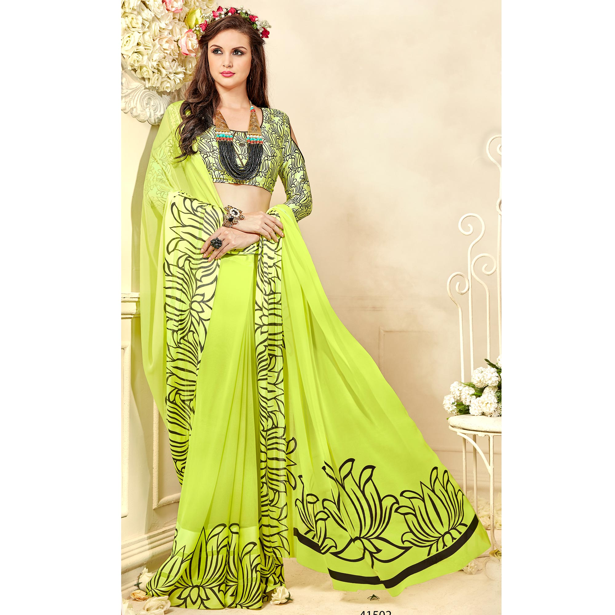 Blooming Light Green Colored Casual Wear Printed Chiffon Saree