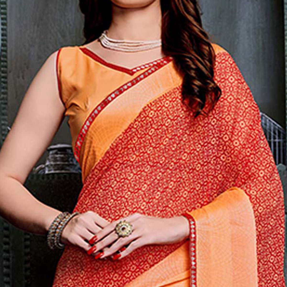 Adorning Orange-Red Colored Casual Printed Georgette Saree