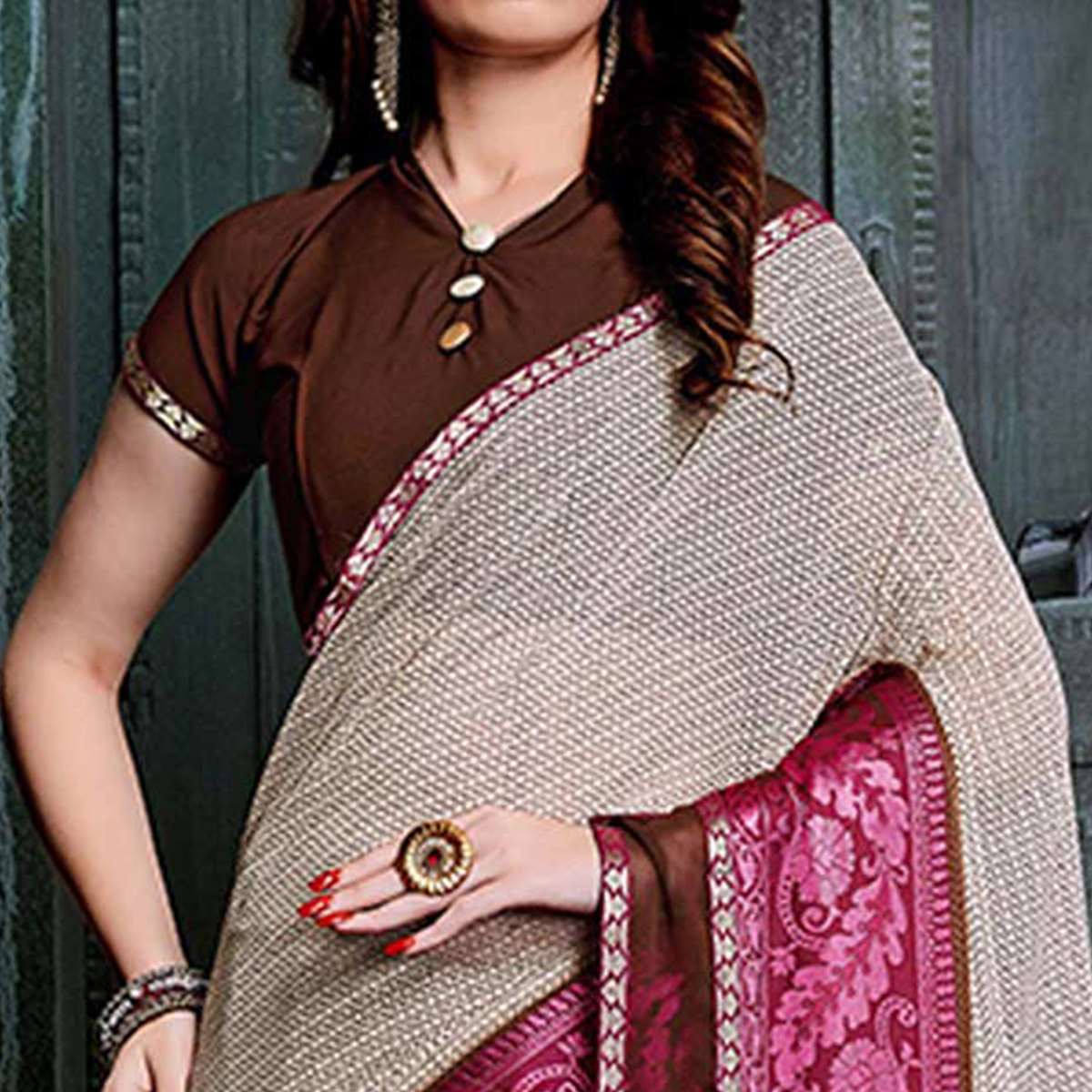 Appealing Beige-Purple Colored Casual Printed Georgette Saree