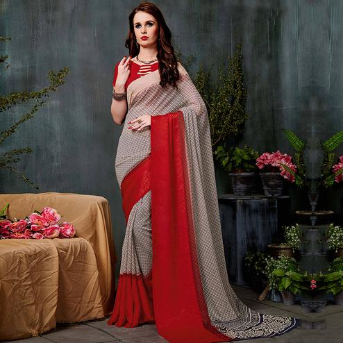 Classy Beige-Red Colored Casual Printed Georgette Saree