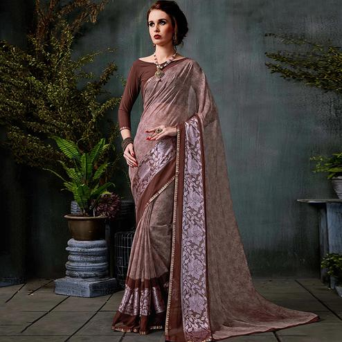Mesmerising Brown Colored Casual Printed Georgette Saree