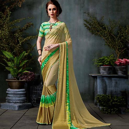 Energetic Beige Colored Casual Printed Georgette Saree