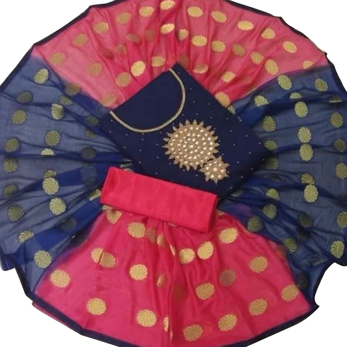 Gorgeous Navy Blue Colored Partywear Embroidered Modal Dress Material