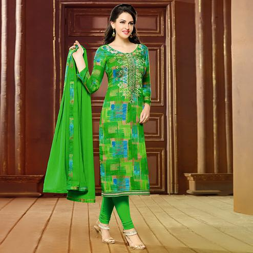 Refreshing Green Colored Printed Cotton Dress Material