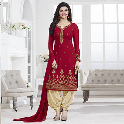 Red Party Wear Georgette Embroidered Designer Salwar Suit