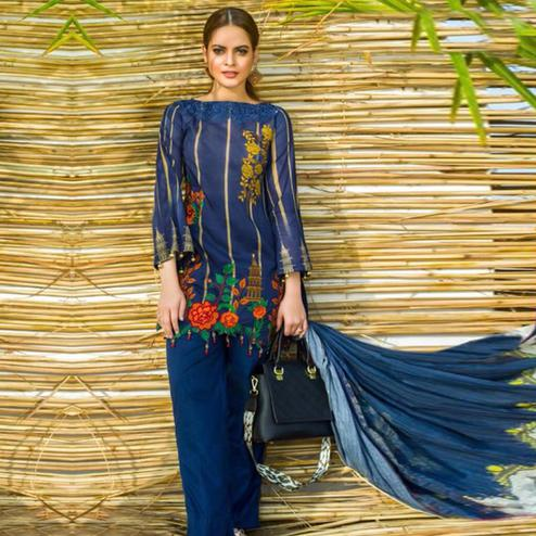 Marvellous Blue Colored Partywear Printed Pure Cambric Suit