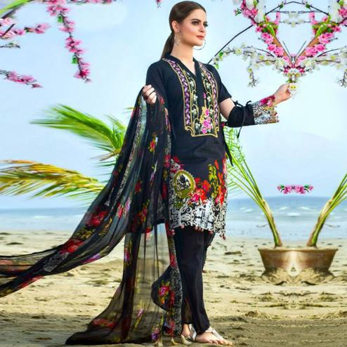 Glorious Black Colored Partywear Printed Pure Cambric Suit