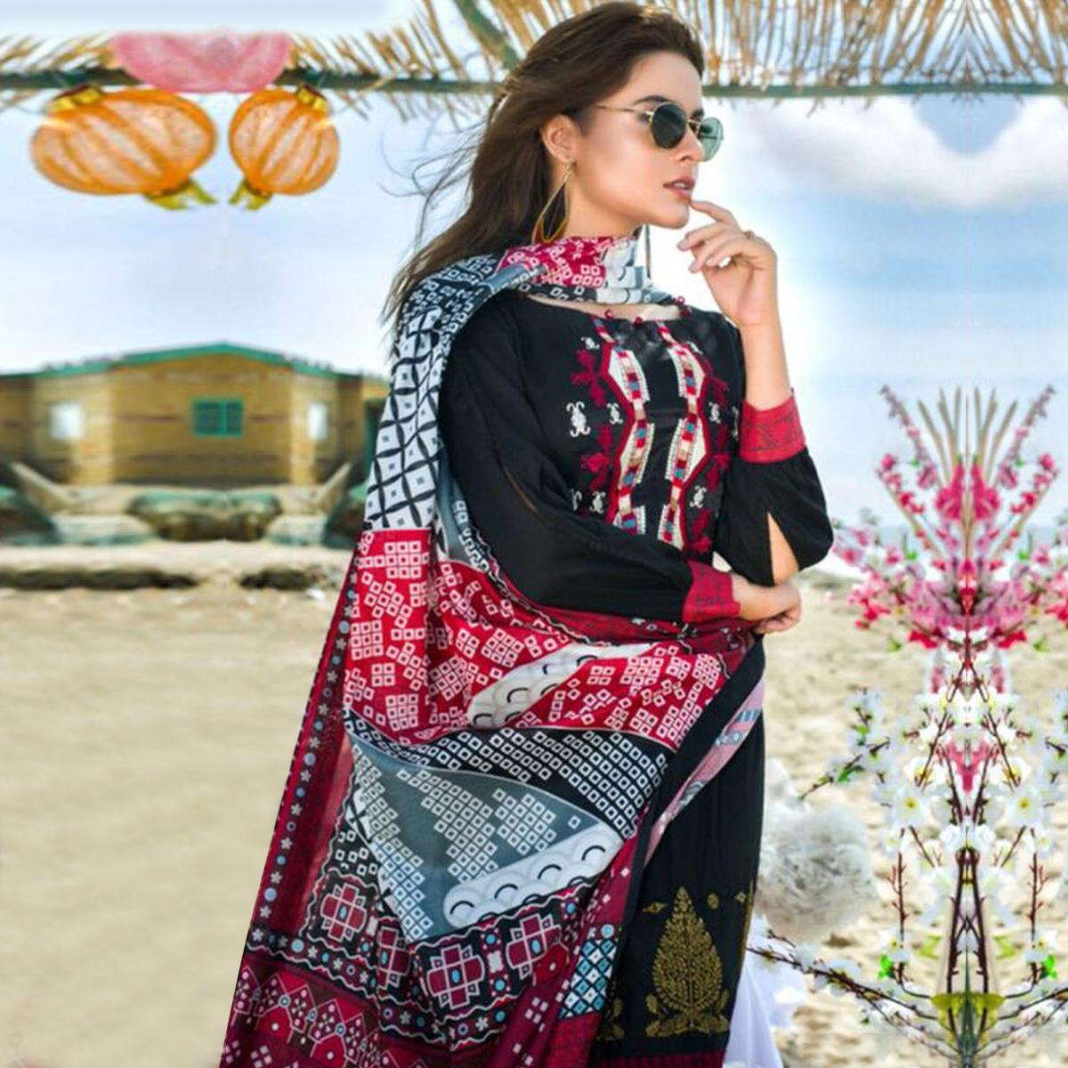 Stunning Black Colored Partywear Printed Pure Cambric Suit
