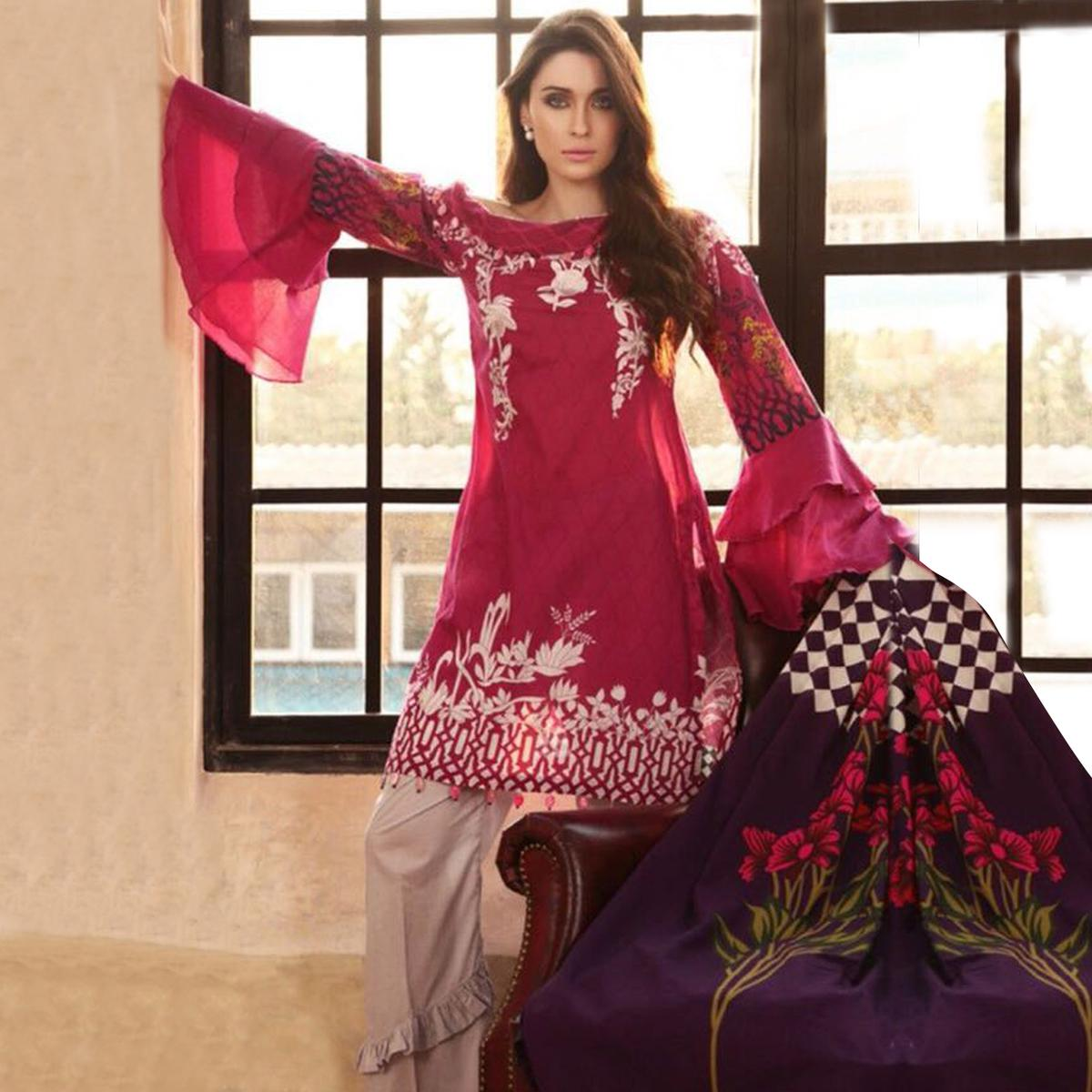 Desiring Dark Pink Colored Partywear Printed Pure Cambric Suit