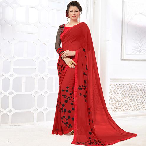 Intricate Red Colored Casual Digital Printed Georgette Saree