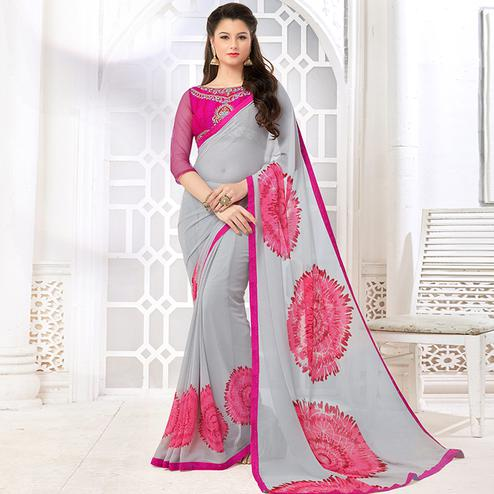 Desirable Grey Colored Casual Digital Printed Georgette Saree
