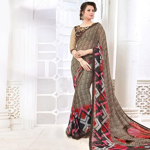 Sophisticated Brown Colored Casual Digital Printed Georgette Saree