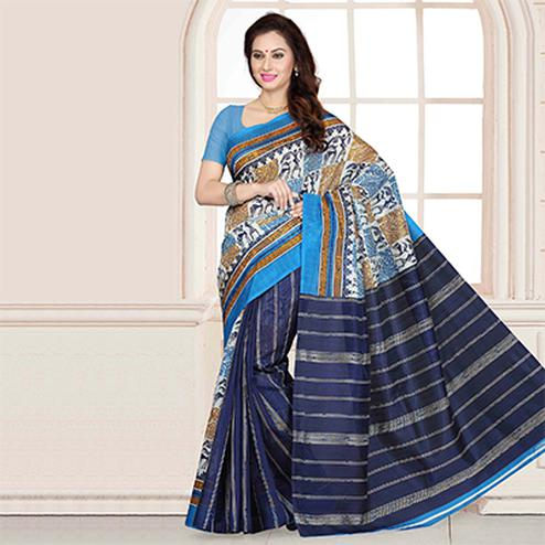 Blue Art Print Work Bhagalpuri Saree