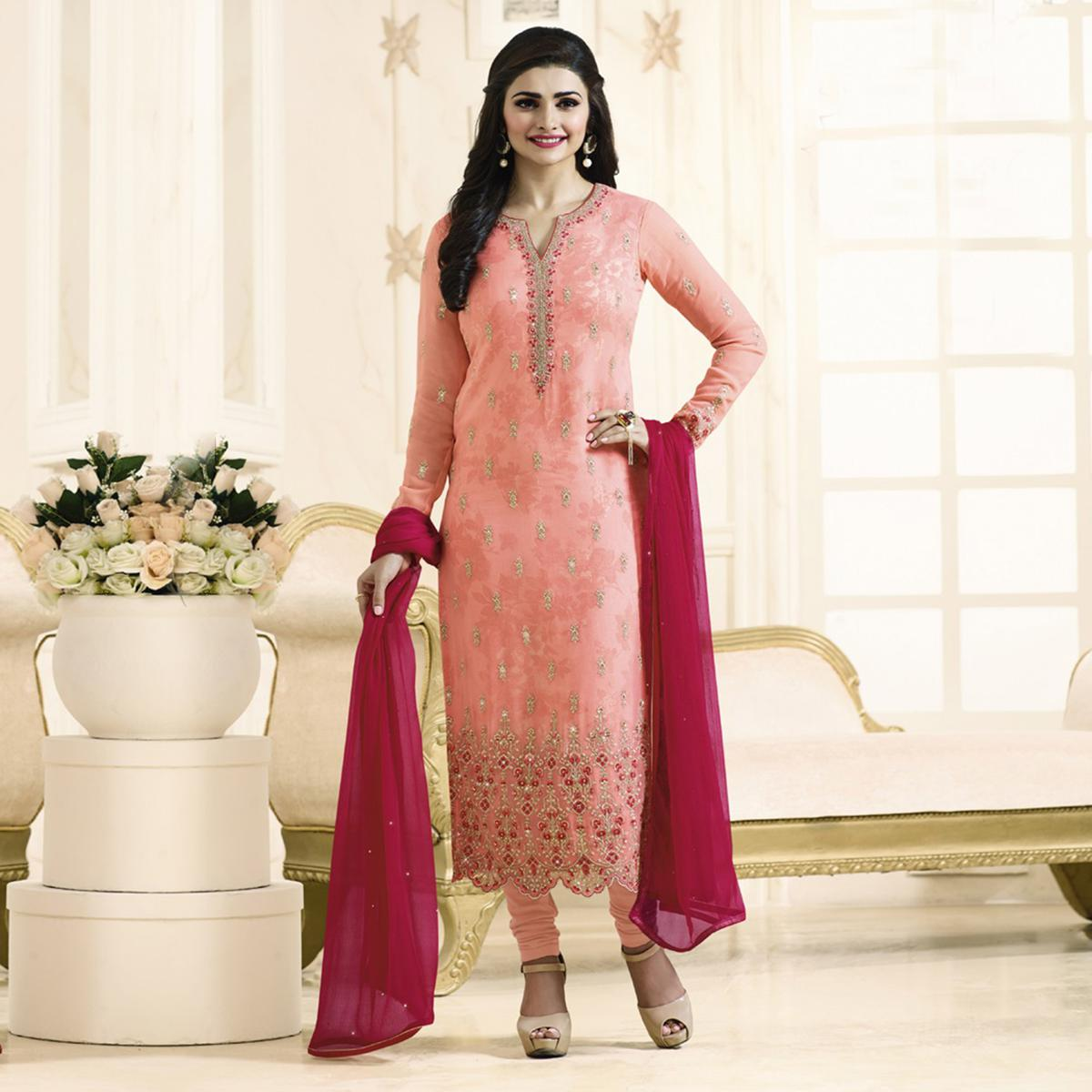 Beautiful Peach Embroidered Georgette Straight Suit