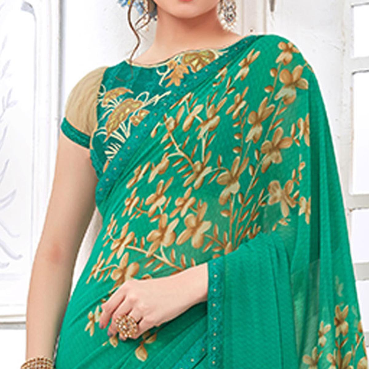 Demanding Green Colored Casual Digital Printed Georgette Saree