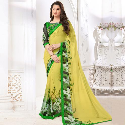 Pleasant Yellow Colored Casual Digital Printed Georgette Saree