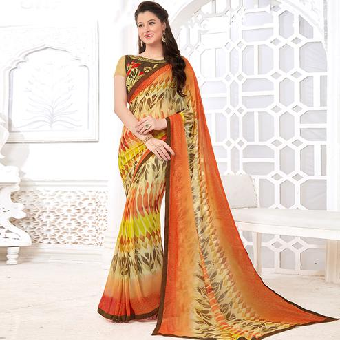 Unique Multicolored Casual Digital Printed Georgette Saree