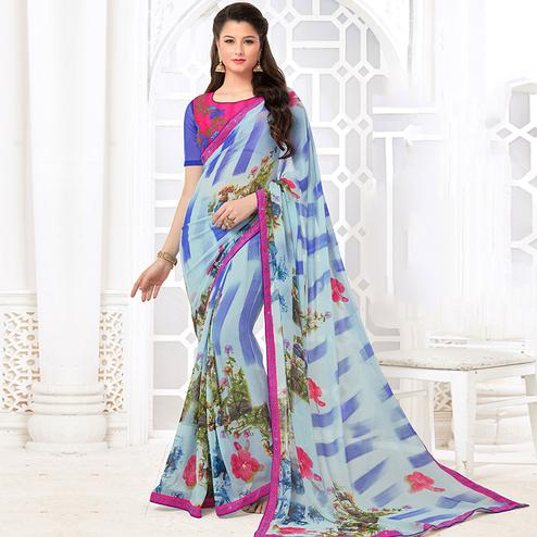 Refreshing Blue Colored Casual Digital Printed Georgette Saree