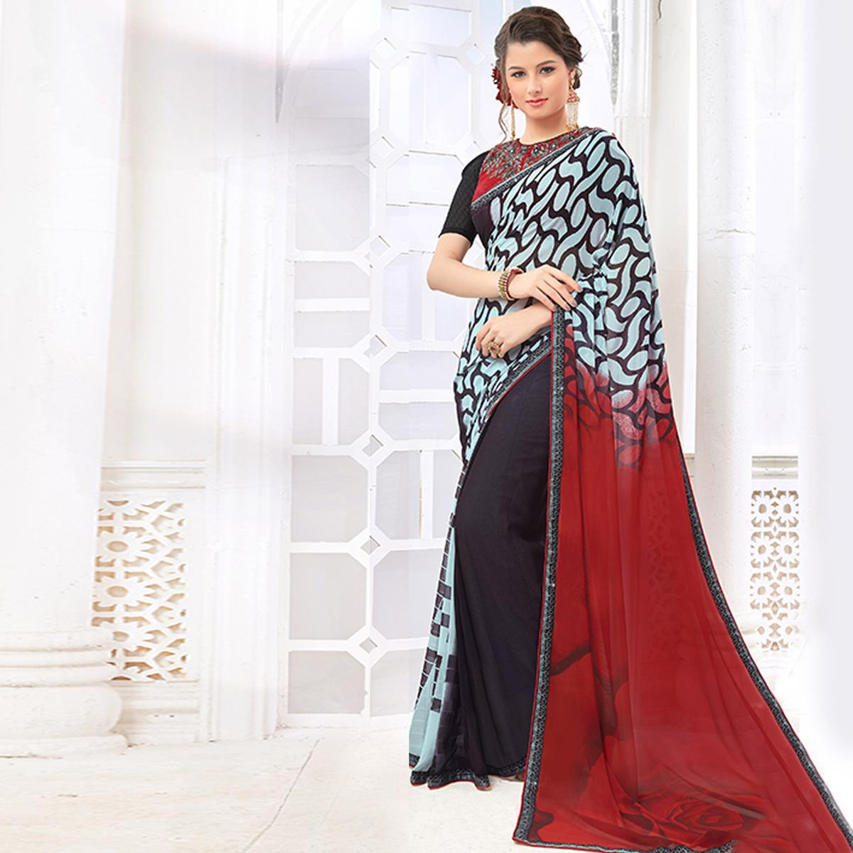 Elegant Multicolored Casual Digital Printed Georgette Saree