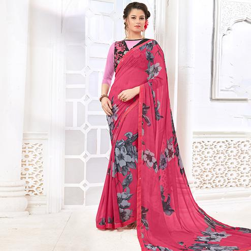 Alluring Pink Colored Casual Digital Printed Georgette Saree