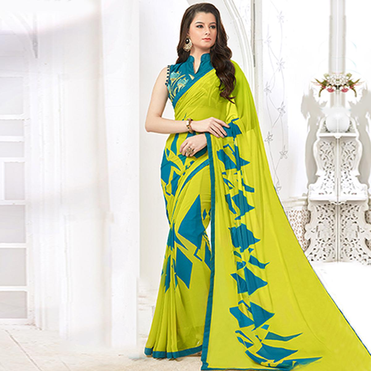 Radiant Light Green Colored Casual Digital Printed Georgette Saree