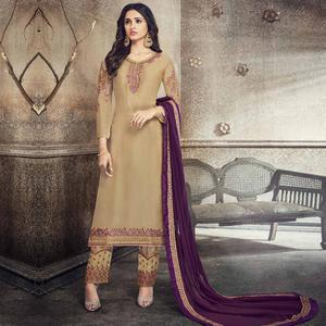 Gorgeous Beige Colored Party Wear Embroidered Georgette Silk Suit