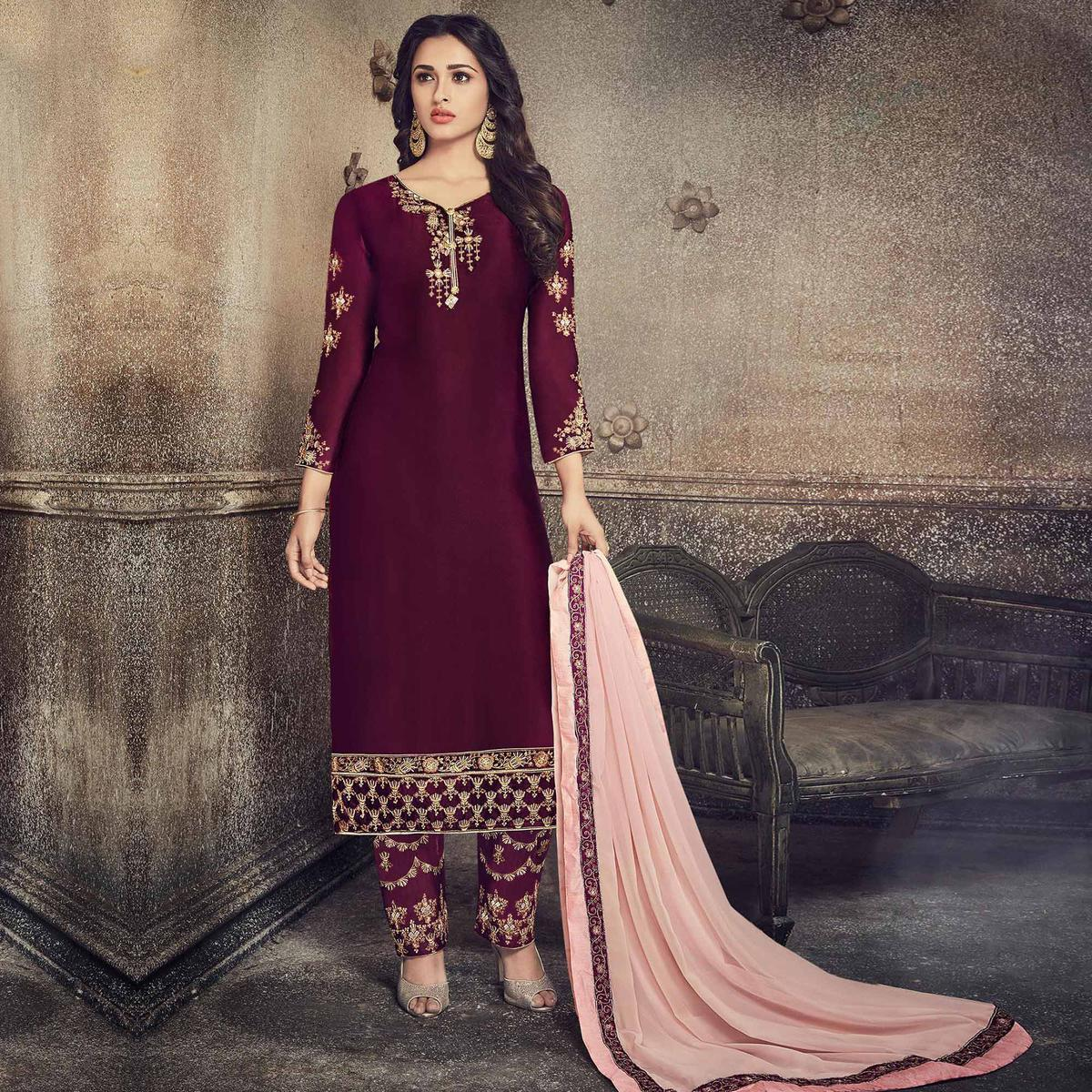 Classy Wine Colored Party Wear Embroidered Georgette Silk Suit