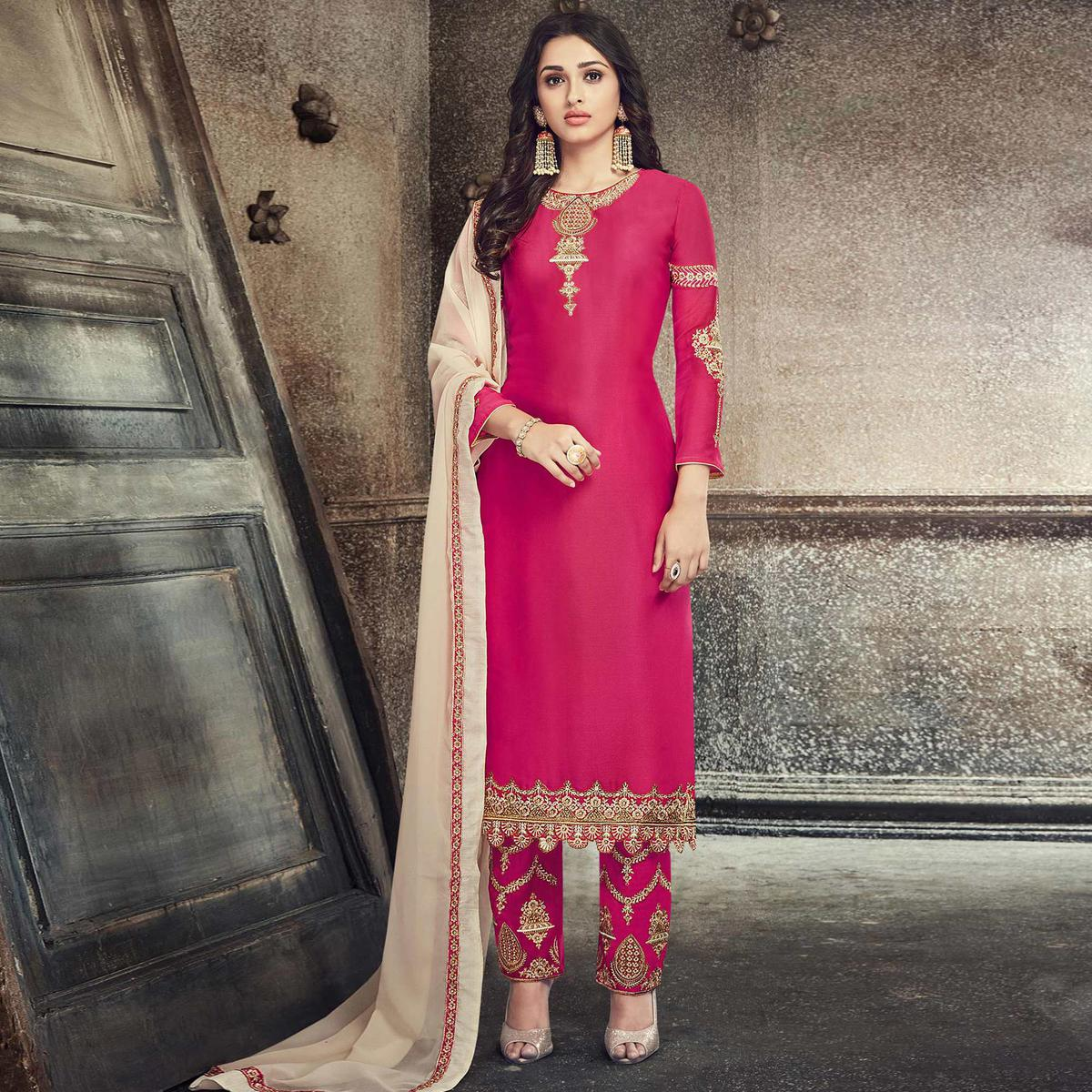 Glorious Deep Pink Colored Party Wear Embroidered Georgette Silk Suit