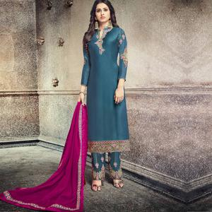 Graceful Steel Blue Colored Party Wear Embroidered Georgette Silk Suit