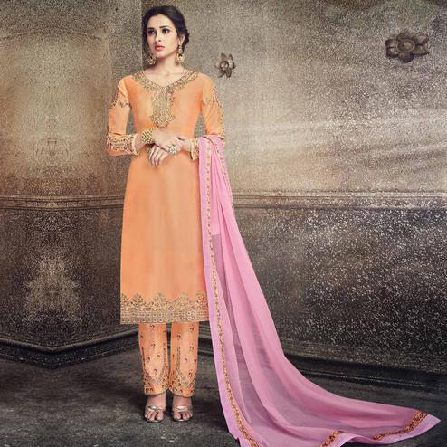 Lovely Orange Colored Party Wear Embroidered Georgette Silk Suit