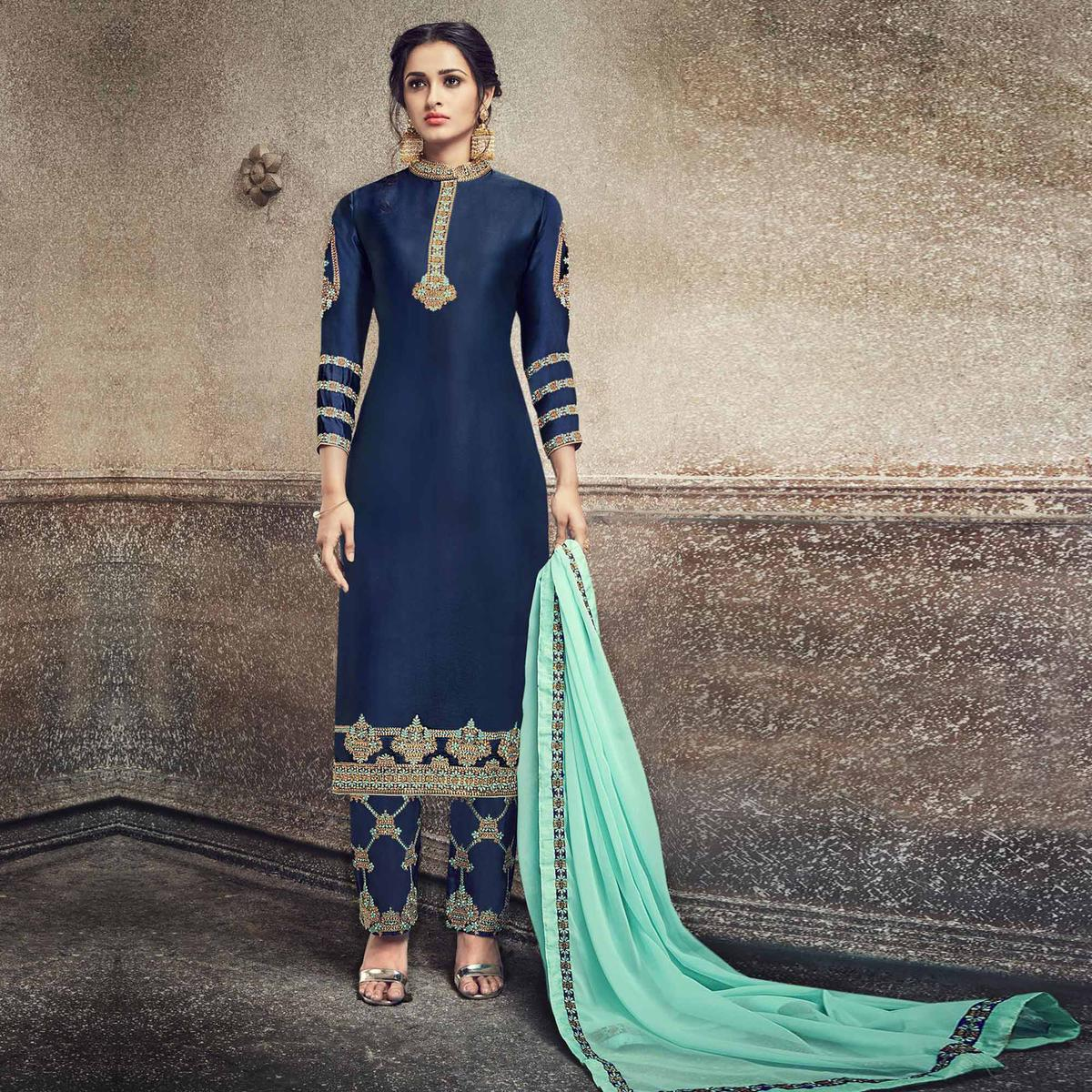 Pretty Navy Blue Colored Party Wear Embroidered Georgette Silk Suit