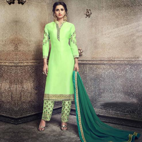 Charming Light green Colored Party Wear Embroidered Georgette Silk Suit