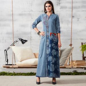Marvellous Blue Colored Casual Embroidered Denim Kurti