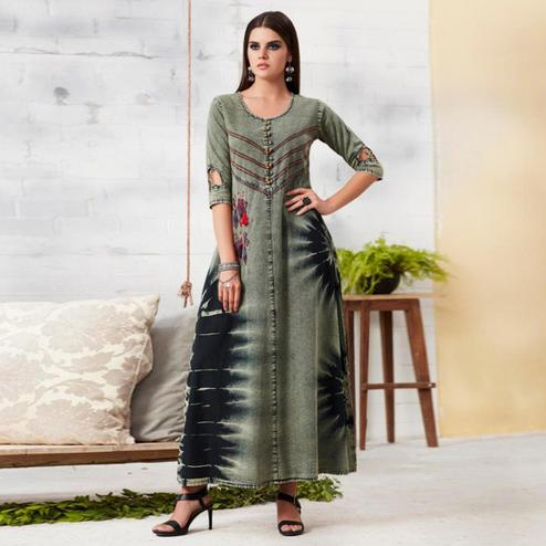 Mesmerising Grey Colored Casual Embroidered Denim Kurti