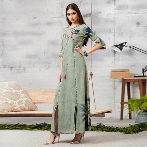 Ravishing Light Grey Colored Casual Embroidered Denim Kurti