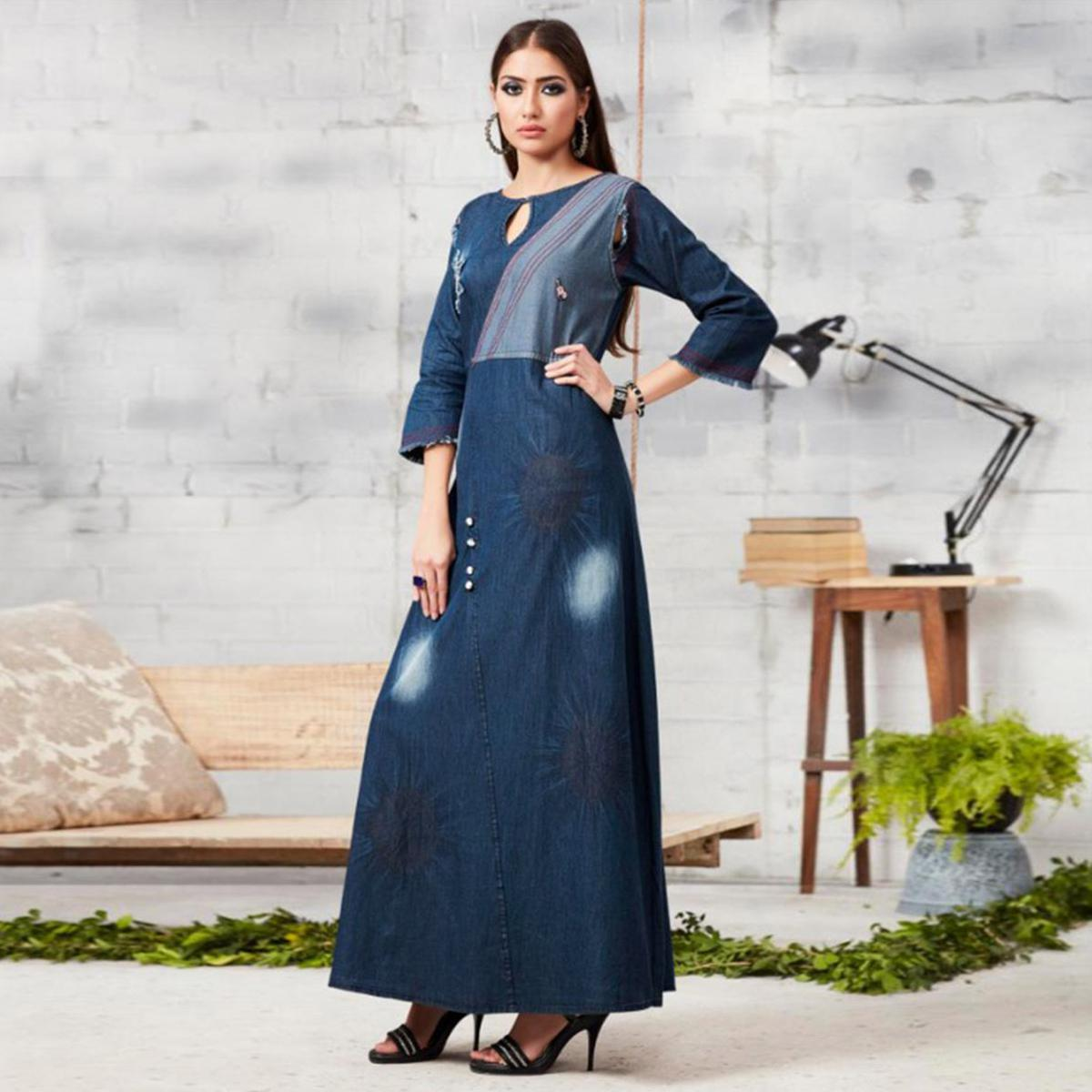 Eye-catching Blue Colored Casual Embroidered Denim Kurti
