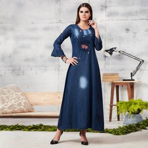 Amazing Dark Blue Colored Casual Embroidered Denim Kurti