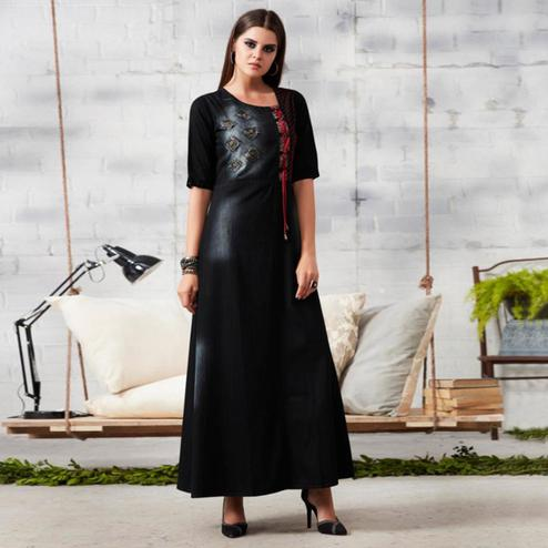Exotic Black Colored Casual Embroidered Denim Kurti